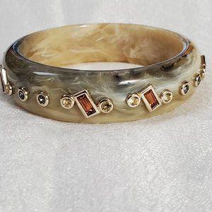 LOFT Tan Rhinestone Gem Resin Bangle Bracelet 935